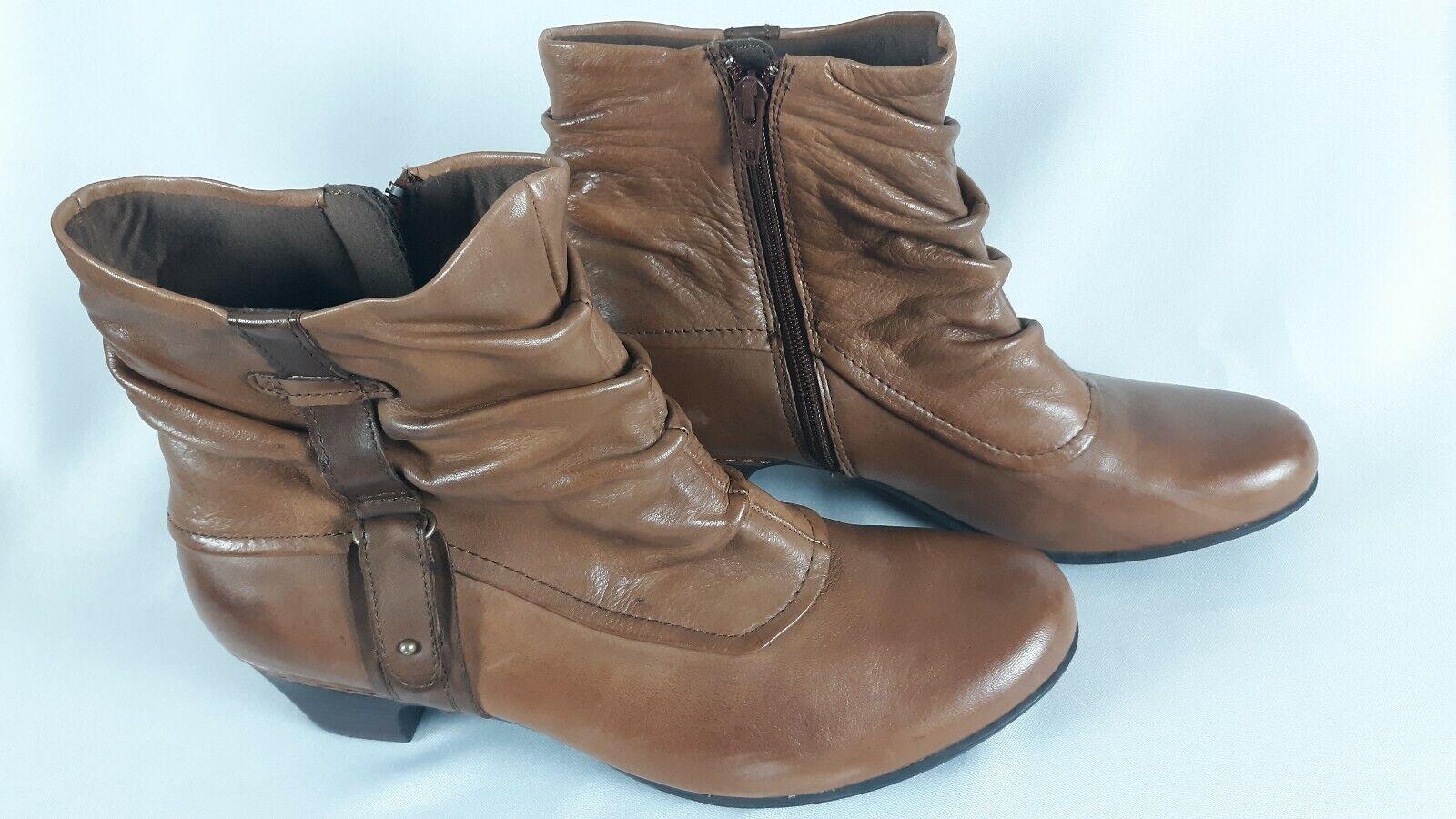 Cobb Hill New Balance Women's Alexandra Leather Boots Side Zip Brown Heel 11N