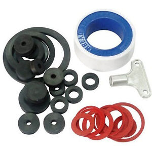 32pc TAP REPAIR KIT SINKS BATHS KITCHEN PIPE JOINTS RADIATOR KEY TAPE O RING