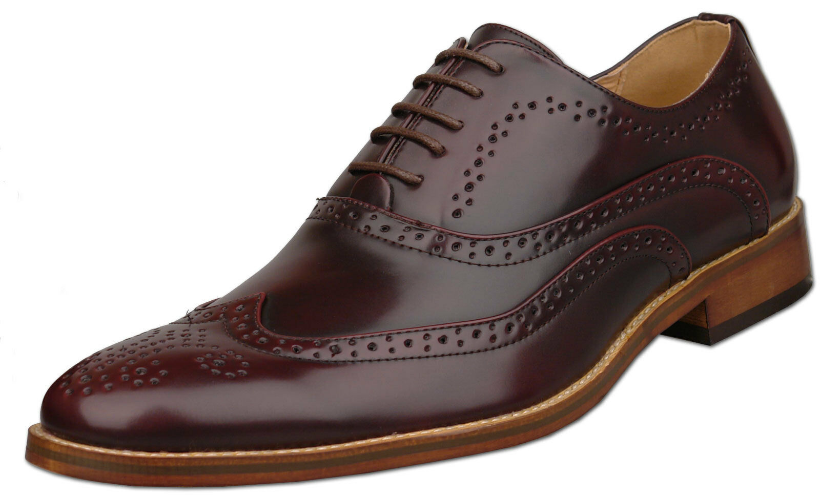 Mens New Oxblood Leather Lined Lace Up Formal Brogue shoes Size6 7 8 9 10 11 12