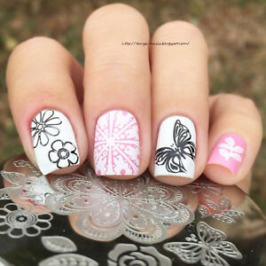 Born pretty nail art stamping image plate stencil butterfly flower image is loading born pretty nail art stamping image plate stencil prinsesfo Choice Image