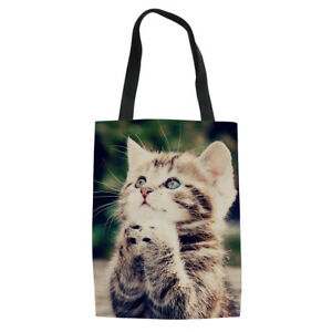 8d05be13af 3D Cat Print Women Beach Tote Grocery Canvas Handbag Large Shopping ...