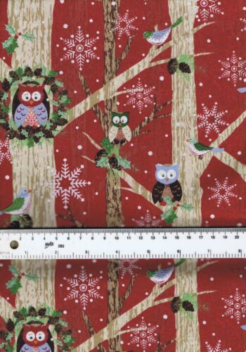 Fat Quarter Woodland Critters Animals Christmas 100/% Cotton Quilting Fabric