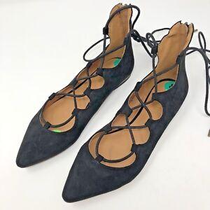Nine-West-Sign-Me-Up-Suede-Ballet-Flats-8M-Black-Lace-Up-Pointed-Tie-shoes