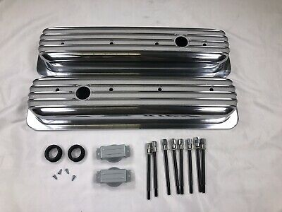 1987-97 Chevy 5.0L /& 5.7L Tall Polished Aluminum Center Bolt Valve Covers Smooth
