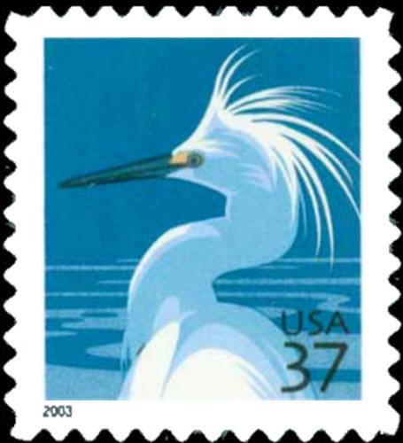 2003 37c Snowy Egret, Booklet Single Scott 3830D Mint F