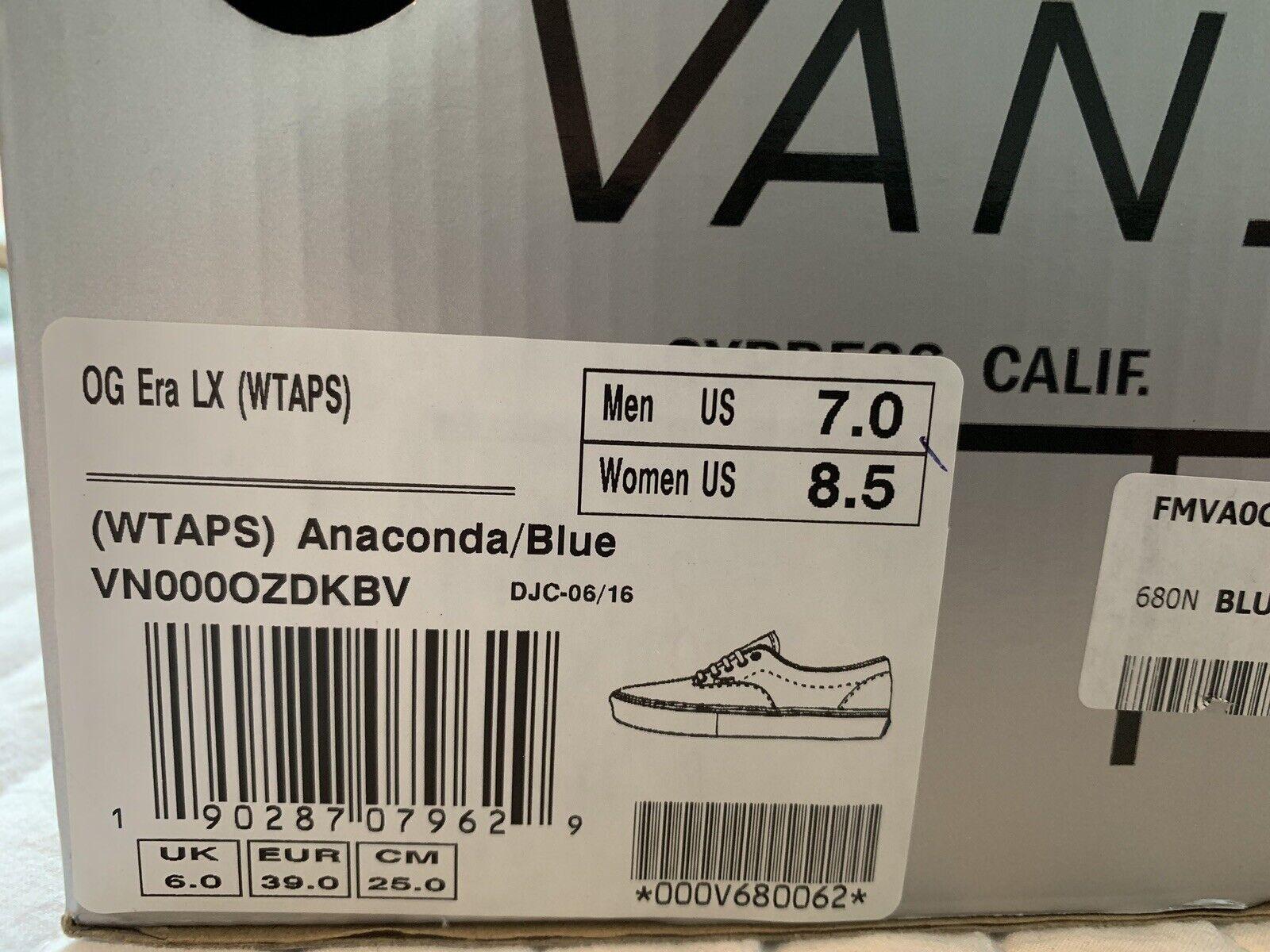 Vans X Wtaps OG ERA LX Anaconda bluee Size 7 MEN supreme vault syndicate