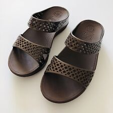 c575e3107e18 FitFlop Welljelly Z-slide Gold Womens Mule Style Soft Jelly Sandals ...