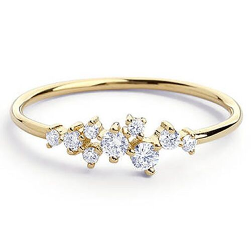 Stackable 9 Crystal Inlay Jewelry Wedding Zircon Rings Crystal Gold Color
