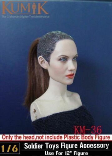 1//6 KUMIK KM36 Angelina Jolie CG CY Girl Head Carving Fit 12/'/' Action Figure