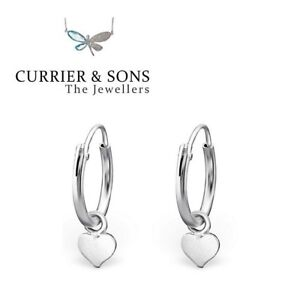 be90c3019 925 Sterling Silver 12mm Heart Design Hoop Sleeper Earrings (Pair ...