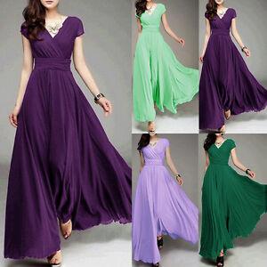 Women-Long-Formal-Evening-Prom-Bridesmaid-Chiffon-Ball-Gown-Cocktail-Dress-Robe