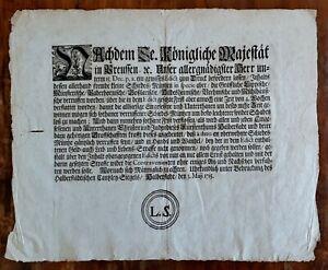HALBERSTADT-Anno-1715-Kundmachung-Anschlagzettel-Querfolio-Edikt-zum-MUNZWESEN