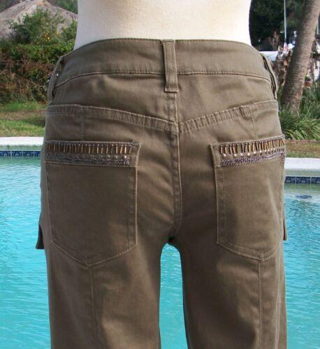 zippée denim en strass 128 Cache X Sz en jean et Nwt cargaisons avec pantalon 2 jambe 0 de orné vxqF0