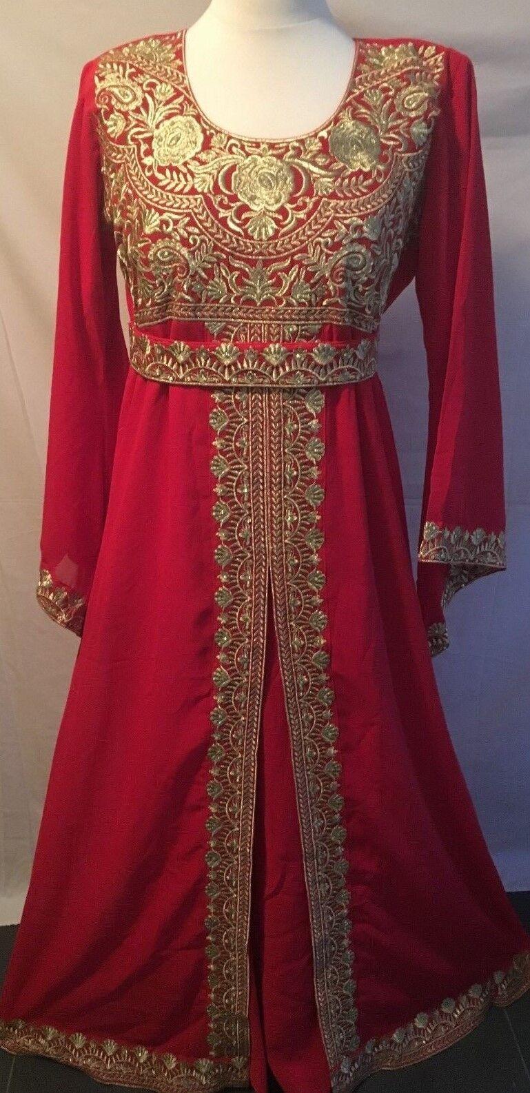 J25 Dubai Thread Kaftan Farasha Jalabiya Abaya Maxi Dress Navy & Purple