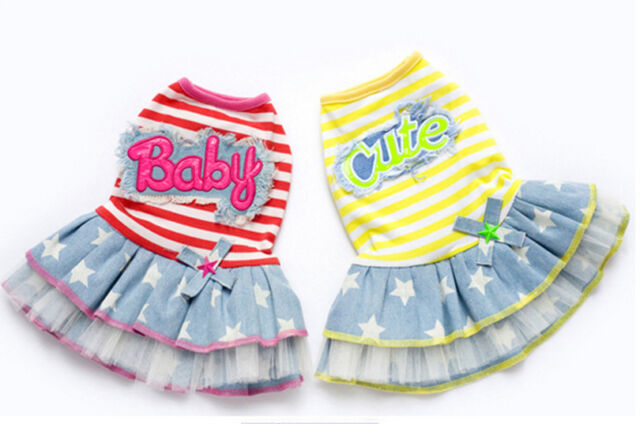 Small girl dog pet clothes apparel striped jeans princess bowtie dress skirt