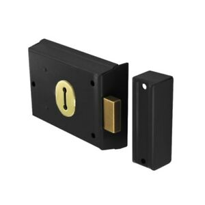 Securit Double hand Rim dead lock 2 KEYS black 100mm S1844 BUILDER HARDWARE