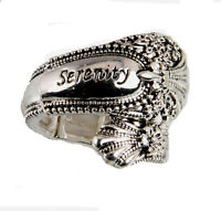 4030439 Spoon Style Stretch Ring Serenity Inscribed Antiqued Finish Jewelry