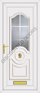 White Buckingham Panel UPVC Front Door With Georgian White Bars, Frame & Letterb