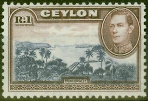 Ceylon 1938 1R Blue-Violet & Chocolate SG395 V.F Very Lightly Mtd Mint