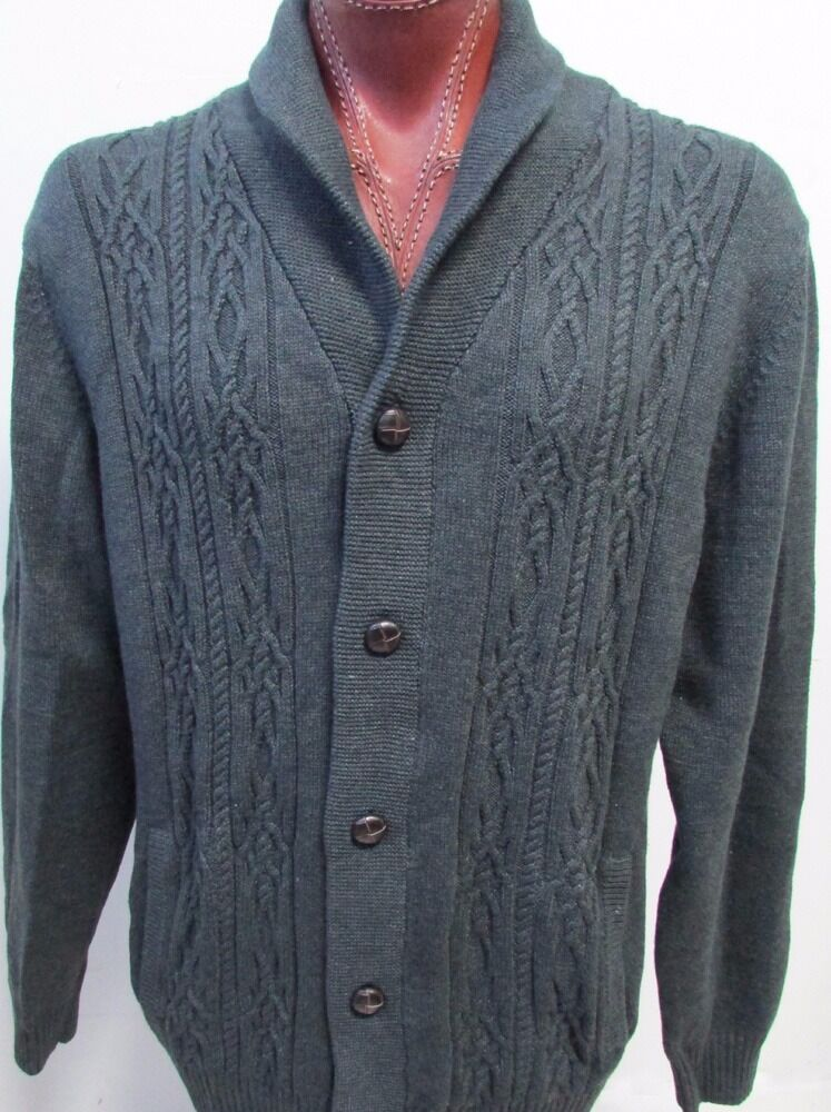 NWT Roundtree & Yorke Button Front Cardigan  Sweater Charcoal Size L