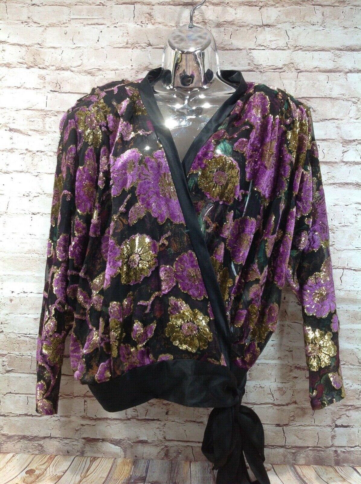 Kiahan vtg 80's embellished print wrap oben 100% silk velvet daMänner's sz 8