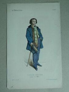 XIX-Incisione-Colori-I-Teatri-Parigi-Lorsay-Collette-Ritratto-Paulin-Menier