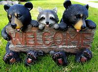 Bear Cub Raccoon Statue Welcome Bear Raccoon