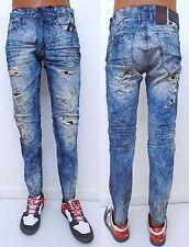 Men JORDAN CRAIG Bleached Dyed Grey Blue Distressed Rip Slim Aaron Jeans JM270
