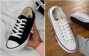 Low-Top-Printable-Canvas-Shoe-Unisex-Chuck-Sneaker-Schwarz-und-Weiss-Gr-35-48