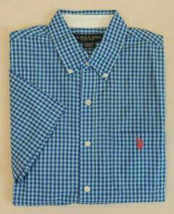 US-Polo-ASSN-Pony-Short-Sleeves-Gingham-Plaid-Holiday-Classic-Dress-Shirt-M-XXL