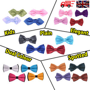 Men-039-s-amp-Kids-Pre-Tied-Satin-Wedding-Party-Bow-Tie-039-S-5-Styles-Variety-of-Colours