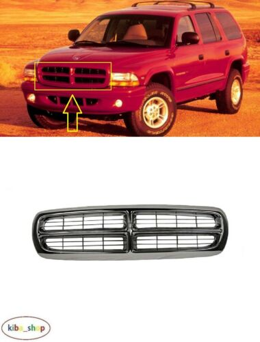 Per Dodge Durango 1997-2004 ANTERIORI NERO//CROMATO GRIGLIA RADIATORE CENTRALE GRILL