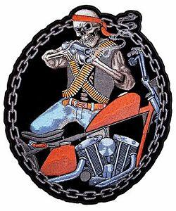 Work Sucks Lets Ride Crazy Evil Motorcycle Rider Embroidered Biker Patch Medium
