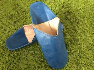 Letzte-orientalische-marokkanische-Babouche-Pantoffel-blau-Groesse-43-Leder