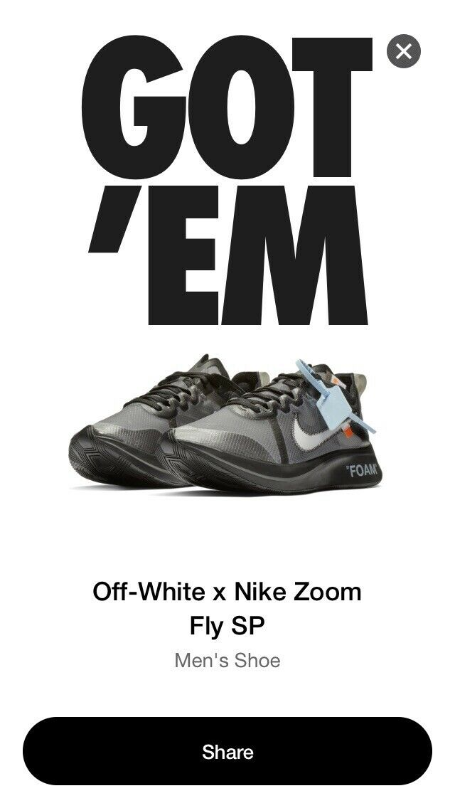 Off White X The Ten Nike Zoom Fly Black White   Size 12