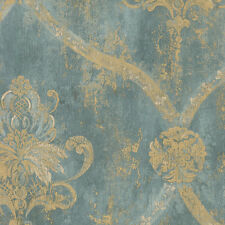Aqua Blue & Gold Weathered Damask Wallpaper 33 FOOT ROLLS FREE SHIPPING