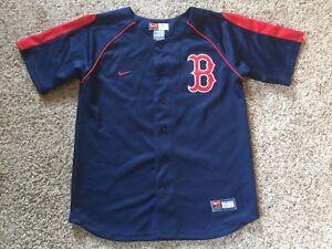ae47cc678 VTG Boston Red Sox Jersey Nike Size Youth Sz M Sewn Blue Boys 12-14 ...