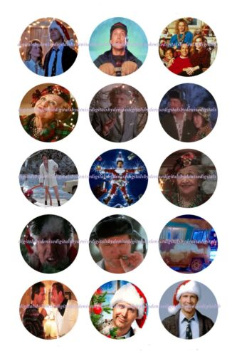 "National Lampoon Christmas Vacation BOTTLE CAP IMAGES 30 1/"" CIRCLES"