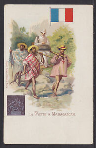 Kunzli-mint-PPC-La-Poste-a-Madagascar-early-Letter-Carrier-Flag-amp-Stamp