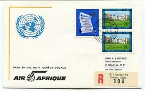 Ffc 1963 Air Afrique First Flight Geneve Douala Registered Onu Palais Nations DernièRe Technologie