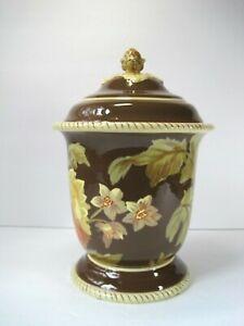Raymond-Waites-Savannah-Large-Floral-Cookie-Jar-Vase-With-Lid
