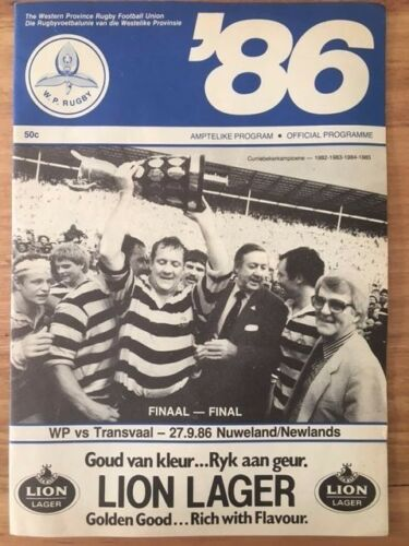 Rugby Programme Currie Cup Final WP vs Transvaal 270986 Newlands Free P&H