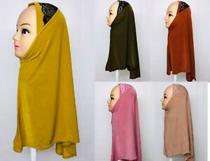 One Piece stretchy Hijab Jilbab Scarf Ready Made Lace Stones Young Girls Adults