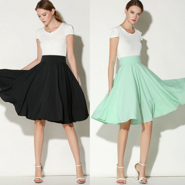Women Hepburn Solid High Waist Pleated A-Line Flared A-Line Swing Midi Skirt