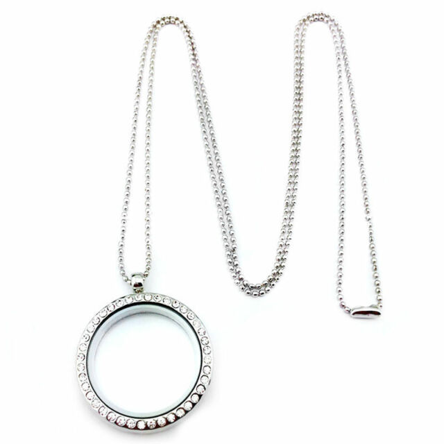 Living Memory Floating Charm Crystal Glass Round Locket Pendant Necklace gift