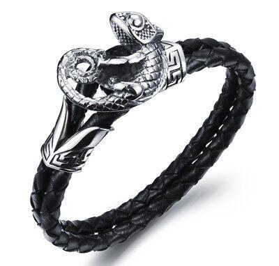 Kikuchi Herren Lederarmband Schwarz Edelstahl Leder Armband Geflochten Chamäleon