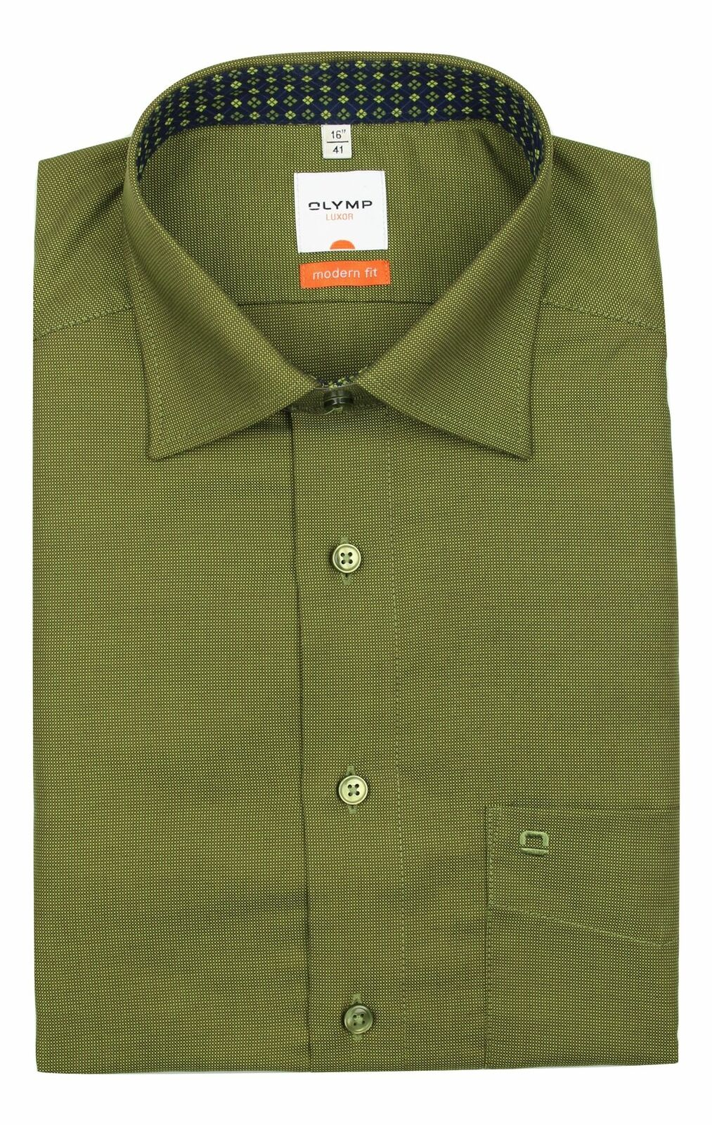 Olive Textured Spread Collar