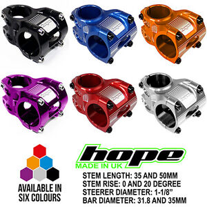Hope AM Freeride MTB Stem-0//20 degree rise-35mm//50mm//70mm-31.8mm//35mm handlebar