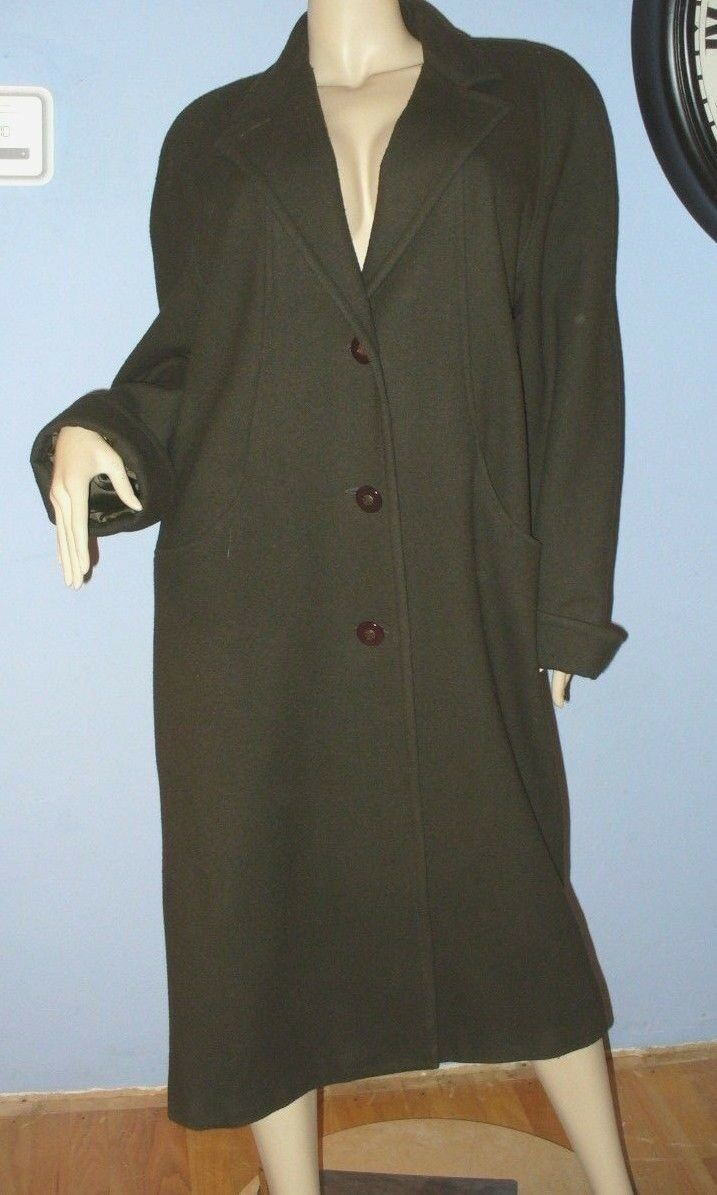 SIZE 10 WOMEN'S OLIVE GREEN WOOL FULL LENGTH COAT - DONNY BROOK