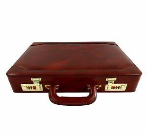 Men Genuine Leather Attache Briefcase Executive Business Handbag Black